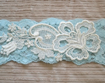 Light Blue Lace Bridal Garter - Vintage Applique - Wedding garter