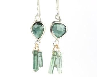 """Rose Cut Indicolite """"Miss Matched"""" Earrings With Raw Crystals"""