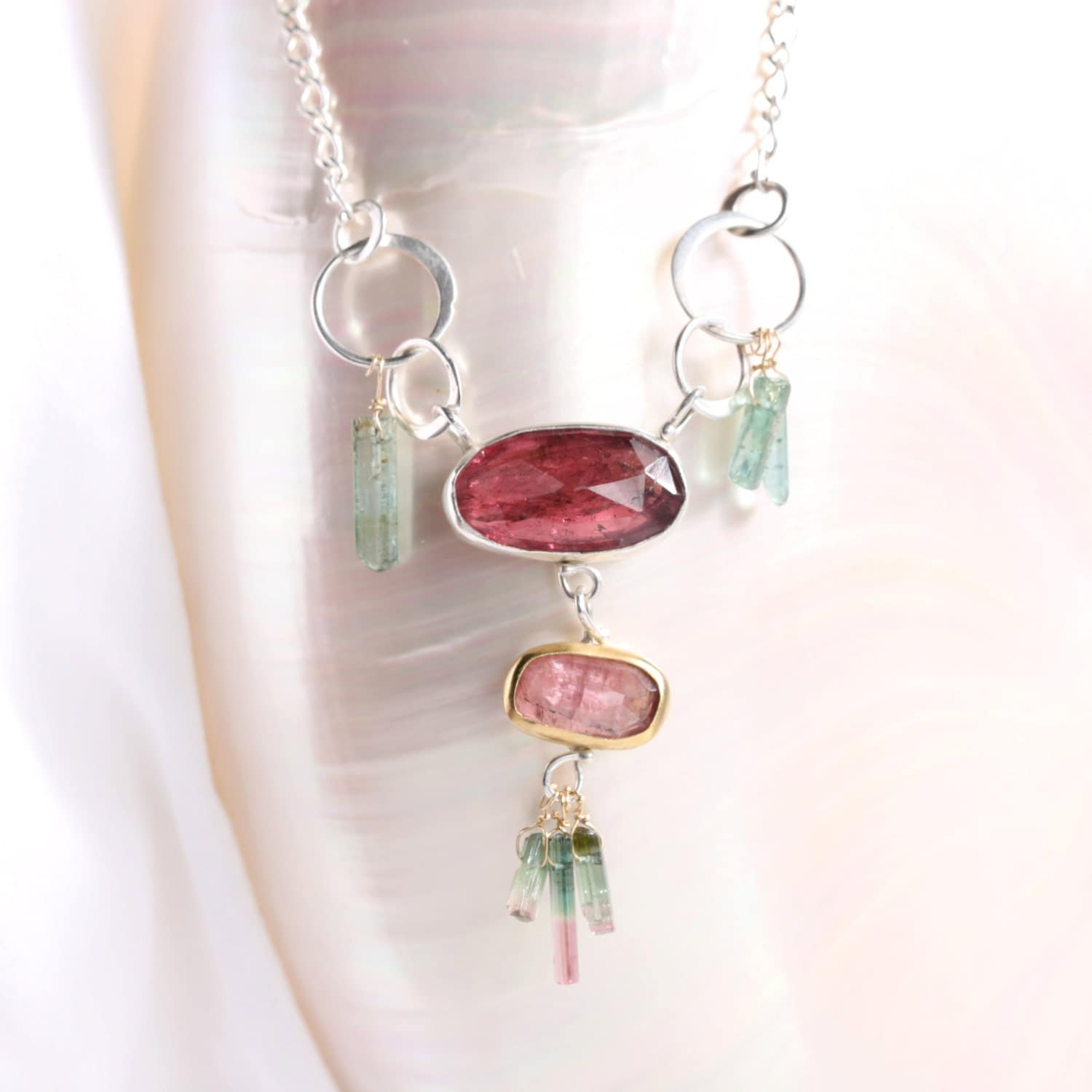 rose cut pink tourmaline necklace with pink teal raw. Black Bedroom Furniture Sets. Home Design Ideas