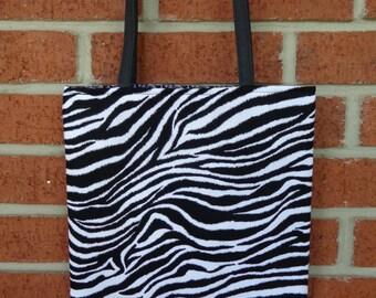 Reversible Tote Bag: Zebra Print