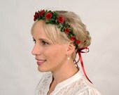 Red Flower Crown, Valentine Headband, Floral Head Wreath, Rustic Wedding, Valentines Day Floral Headpiece, Red Rose Crown, Green Leaves