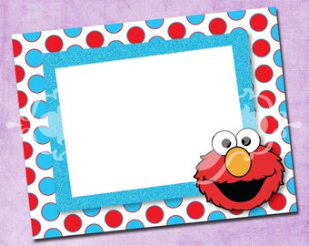 Elmo Red and Turquoise Thank You Card