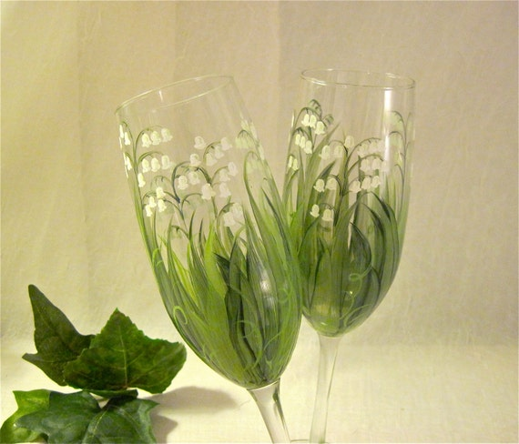 Lily Of The Valley Hand Painted Champagne Flutes