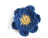 Lapel Pin yellow blue and white flower crocheted brooch