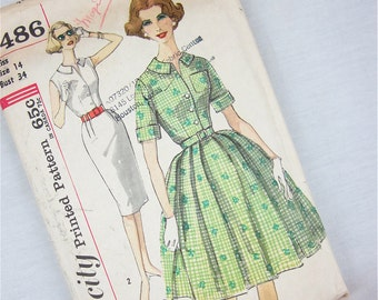 Vintage 50s Wiggle Dress and Full Skirt Dress Sewing Pattern, Simplicity, 3486