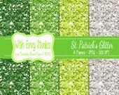 SALE St. Patrick's Day Digital Scrapbook Paper Pack - Glitter Scrapbook Paper Set - Green Glitter - Instant Download