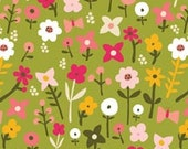 Floral Fabric, Flowers, Village Green by Jessica Weisen, Green Floral Fabric, Green Fabric, Floral Fabric, 01865