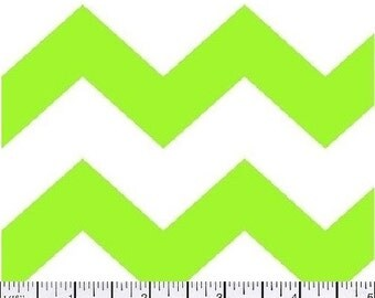 Large Chevron Fabric, Lime Green and White Fabric, Lime Green Fabric, Chevron Fabric, Green Fabric, 1 yard fabric