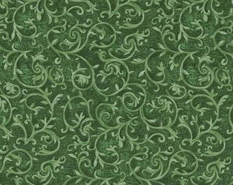 Fat Quarter, Green Floral Fabric, Marseille by Blank Quilting, Emerald,  Green Fabric, Floral Fabric, 02201