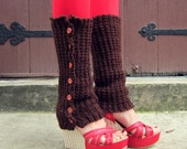 Leg Warmers Knit Leggings Brown Button Teen Legwear Womens Crochet Knitted Ladies Adults Leg Warmers