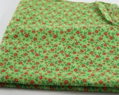"CALICO Quilting Fabric 2 Yards, Cranston Print Works V.I.P.  44"" wide, Kelly Green With Red Flowers"