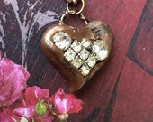 Steampunk Bronze Heart Pendant Necklace - Embedded Vintage Rhinestones