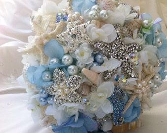 Blue Wedding Bouquet, Sea Shell Bridal Bouquet, Brooch Bouquet