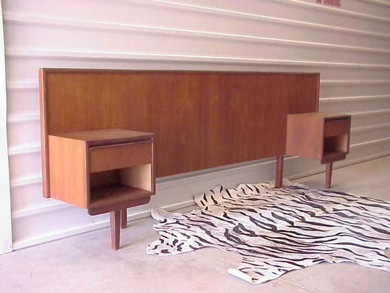 mid century danish modern teak headboard w attached. Black Bedroom Furniture Sets. Home Design Ideas