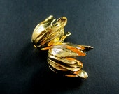 6pcs 17x20mm gold plated 3D flower beads cap DIY pendant charm jewelry supplies findings 1850148