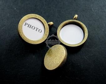 5pcs 14mm round bezel base tray setting photo frame brass bronze antiqued custom pendant charm locket DIY blanks supplies 1810180