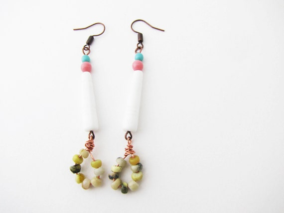 Pastel long dangle earrings.Tender summer trend 'made to order'