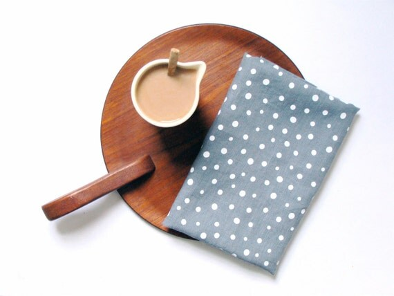 Sale - 50% off - READY TO SHIP - Eco friendly linen tea towel gray white dots