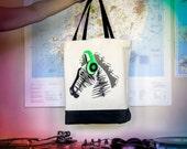 Soundwave Music Zebra Grocery Tote Bag in neon green headphones