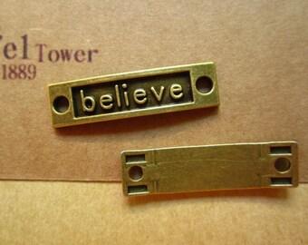 10pcs 35x9mm antique bronze believe letter charms pendant c5012