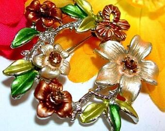 "Autumn Brooch Champagne Rhinestones & Green Brown Enamel Flowers Wreath 2"" Vintage"