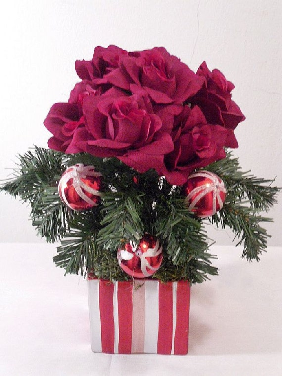 Items similar to red roses in candy cane striped vase