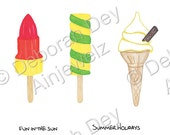 Summer Digital Embellishments scrapbooking Ice-cream cones, Popsicles, Lollies, INSTANT DOWNLOAD Rockets Twister watercolour illustrations,