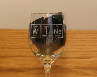 Periodic Table WINe Glass Engraved