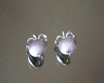 Vintage Silver Peach Clip-on Earrings