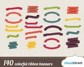 Buy 2 get 1 free 140 colorful ribbon banners clipart / digital ribbons clip art / vector banner