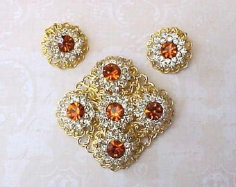 Beautiful Vintage Set of Rhinestone Jewelry with Bittersweet Colored Stones