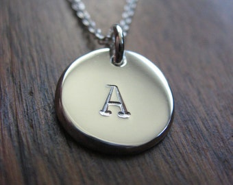 Silver Initial Stamped Letter A Pendant Necklace