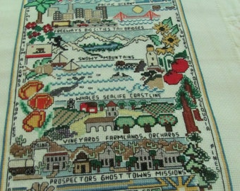 Handmade XST Sampler of California-Lots of great detail-Large for framing