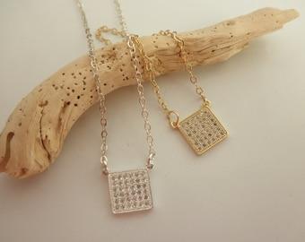 CZ  square charm necklace - gold vermeil cz charm -