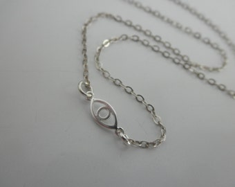 Sterling silver evil eye chain necklace