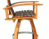 Wine Barrel Bar Chair (red, burgundy, natural oak, stainless steel, bar stool, captains chair)