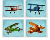 Vintage Airplane Art - Baby Boy Nursery Wall Art , Big Boy Room, Vintage Art, Biplane Art, Plane Print, Playroom Home Decor, Photograph