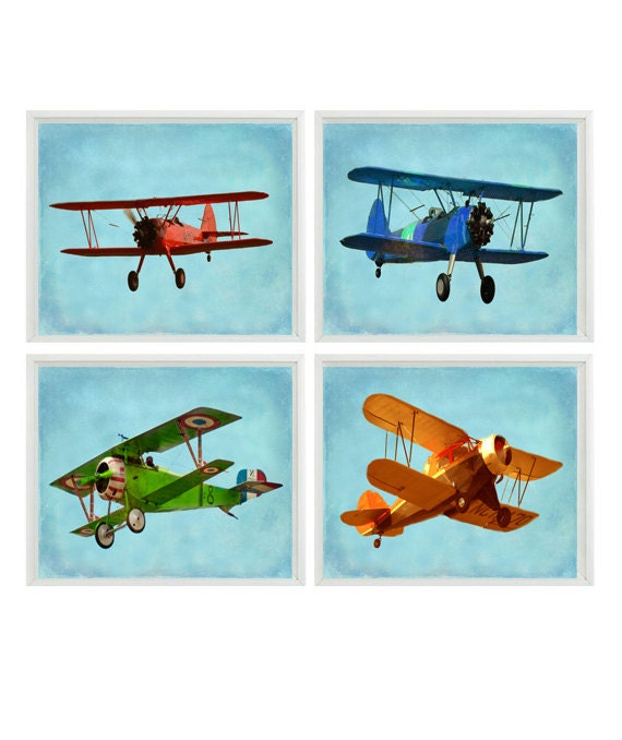 Vintage Aviation Wall Decor : Vintage airplane art baby boy nursery wall big