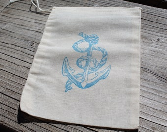 Set of 10 Hand stamped Nautical Anchor Muslin Party Favor Bags Eco Friendly 100% organic