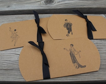 Set Of 10 Roaring 20s Flapper Wedding Gift Pillow Boxes Hand Stamped
