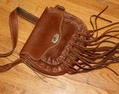 Vintage Handmade Leather Fringe Purse