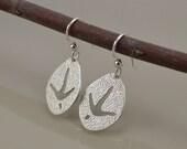 Wild Turkey Track Earrings - Saw Pierced - Sterling Silver