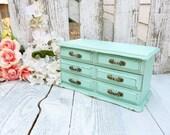 Mint Jewelry Box - SHABBY CHIC Upcycled Wood Jewelry Box