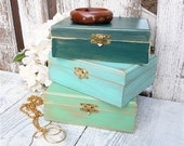 Bridesmaid Boxes - Teal and Gold SHABBY CHIC Small wood Trinket box, Keepsake box - Set of 3