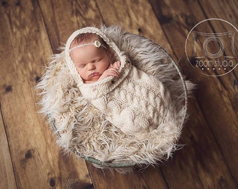 Knitted cocoon for newborn, photos props.