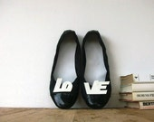 White Patent Leather Letters Love Shoe Clips