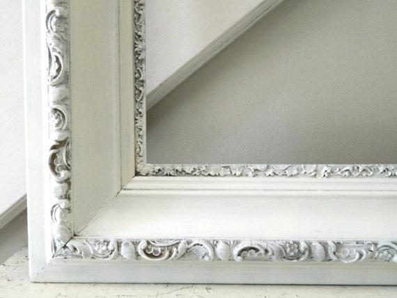Vintage grande cornice bianca shabby chic legno ornato - Cornici specchio bagno ...