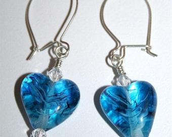Lampwork & Swarovski Crystal Earrings - Blue Black - SRAJD