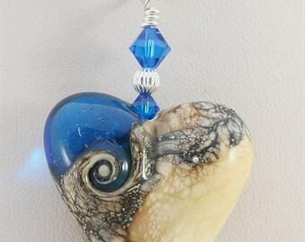 Blue Ivory Silver Heart Glass Lampwork Focal Bead Pendant - SRAJD