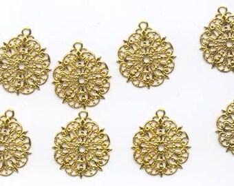24 vintage gold tone filigree pendants - 23 mm